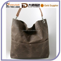 Fashion Wax Canvas Long Strap Lady Messenger Bag Vintage Leather Shoulder Tote Handbag bag