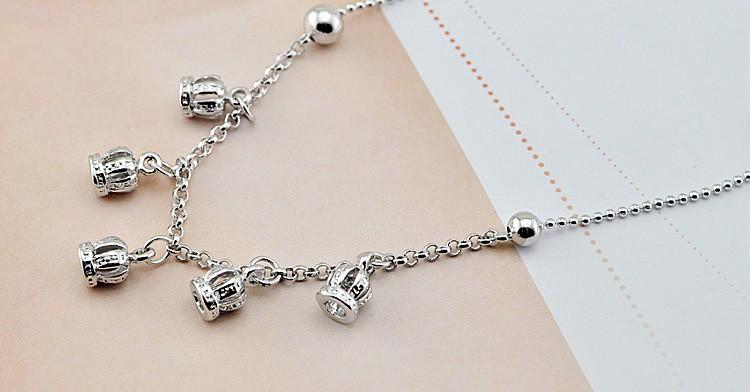 Женщины моды 925 серебряная корона кулон цепи, благородный принцесса браслеты, лето стерлингового серебра аксессуары, бесплатная доставка