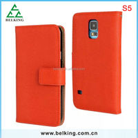 Wholesale wallet genuine leather phone case for Samsung S5 with card slots for Samsung S5 leather case