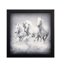 Running Horses Painting With Printed House Wood Wall Plaque