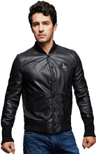 Members Only Men's Washed Genuine Leather Baseball Jacket