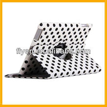 Dot Polka-dot Design Magnetic Revolve 360 Case Leather Material for iPad 4 3 2 With Wake/Sleep Function Smart Cover