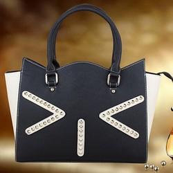 Ladies handbag wholesale trendy tote bag studded leather handbag cute cat shoulder bag export from china EMG3928