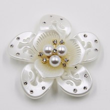 New product pierced pearl 62mm rhinestone acrylic flower hair ornament P02834