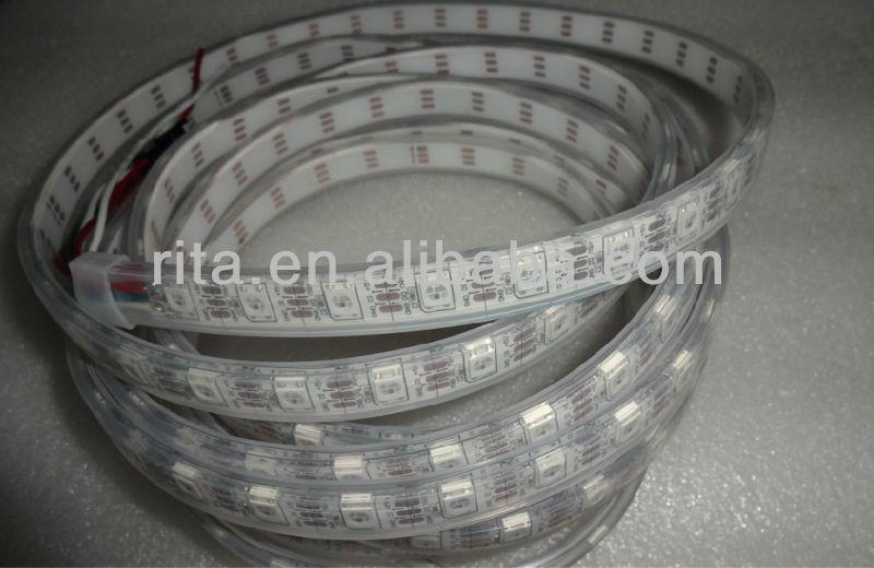 4m 픽셀 주도 srip ws2812b dc5v, ip68, 60 개 ws2812b/ m 60 픽셀 함께, 흰색 pcb, ip68, 수있는 튜브에 가득 에폭시 수지