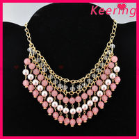 wholesale cheap pearl and crystal pink beads necklace set with earrings for woman WNK-275