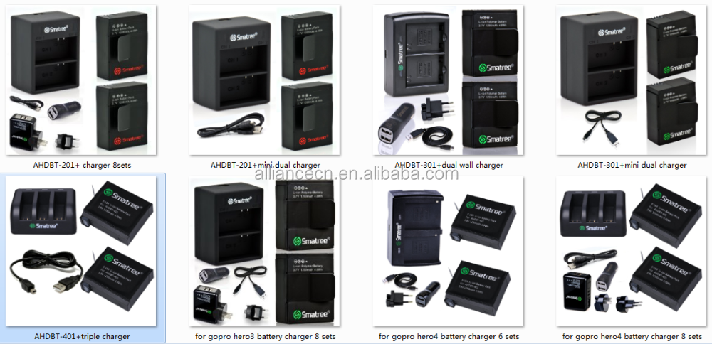 Smatree go pro acessórios kits de bateria e carregador para gopros bateria hero5