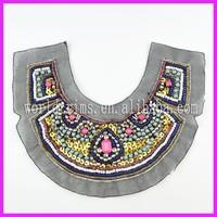 2015 new design handmade beaded sequins collar patch applique WTA190