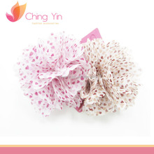 Fancy Girls Fashion Hair Accessories 2 in 1 Set Pink and Light Brown Heart Print Flower Hair Clips