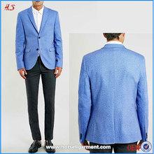 Novo estilo moda luz azul Jersey homens Blazer projeta modelo terno Blazer