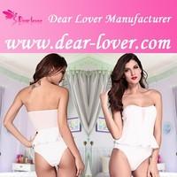 White Tube Peplum Spandex Jumpsuit Bodysuit for Women