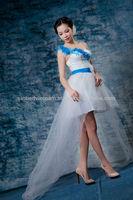 One-shoulder Sleeve Front Short And Long Back Wedding Dress