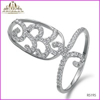 Newest micropave setting sterling silver knuckle midi nail ring 925 silver jewelry wholesale