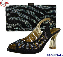 Graceful lady shoes csb901-4 black high heel shoes with matching bag