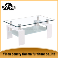 Standard sizes most popular clear glass top coffee table with high gloss white legs