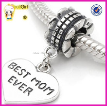 Oxidized dangle heart charms wholesale - Best mom heart charm jewellry fits charms bracelets