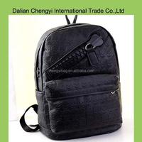 China cool black boys fashion CrossBones pu backpack with big zipper