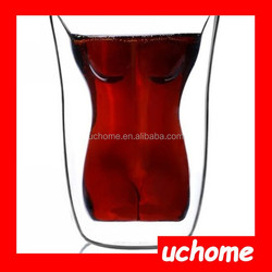 UCHOME 2015 Newest Double Wall Tea Cups Glass Cool Design Sexy Nude Beauty High Quality Glass Coffee Cup
