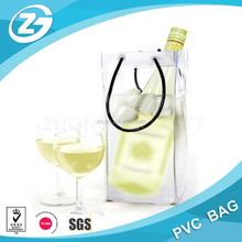 PVC portable wine cooler bag/wine cooler plastic bag/ pvc wine cooler bag