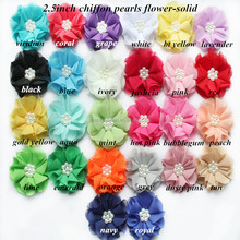 "Hot-selling,2.5"" Petite Solid Chiffon Flower With Pearls Center,Chiffon Fabric Flower"