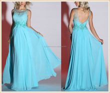 2015 new arrival long aqua sheer overlay high neck blue lace bodice A-line chiffon skirt cheap sexu back open evening dress