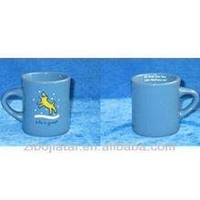 Trumpet Shape Blue Glazed Ceramic Coffee Mug with Dog Design