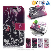 Butterfly flower pattern pu leather flip mobile phone case for LG L70,for LG L70 pattern flip cover