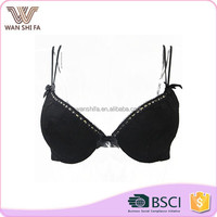 Black lace back open nylon breathable girl hot stylish sexy bra