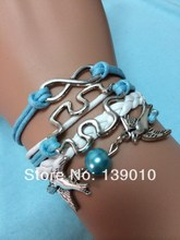 Vintage Silver Bird Bead Puzzle Infinity Charm Bracelet Autism Awareness Men Friendship Jewelry K-718