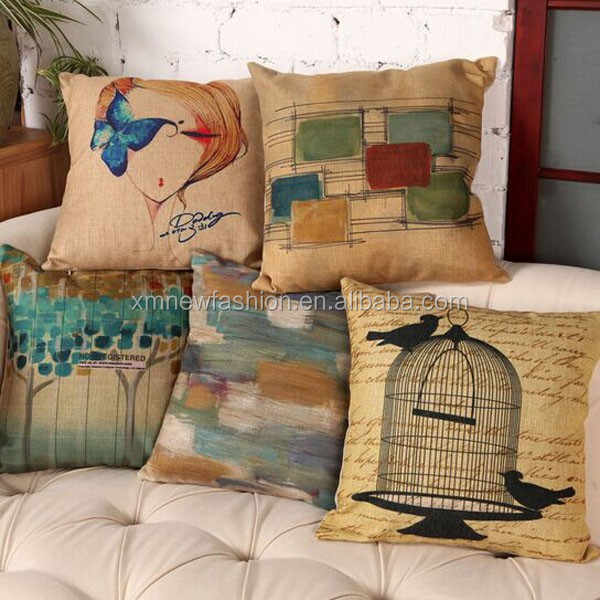 Waterproof Cotton Linen Rustic Decor Designed Throw Pillow Buy Waterproof Pillow Cotton Linen