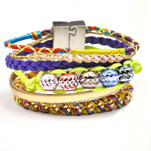 2015 Top sell magnetic clasp bracelet for women, handmade rope braided bead bracelet
