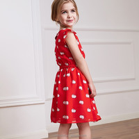 Beautiful model baby girl party dress children frocks designs red color kids party wear dresses for girls