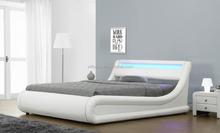 S-shaped LED King Size Soft PU White Faux Leather Storage gas lift Bed WSB138-1