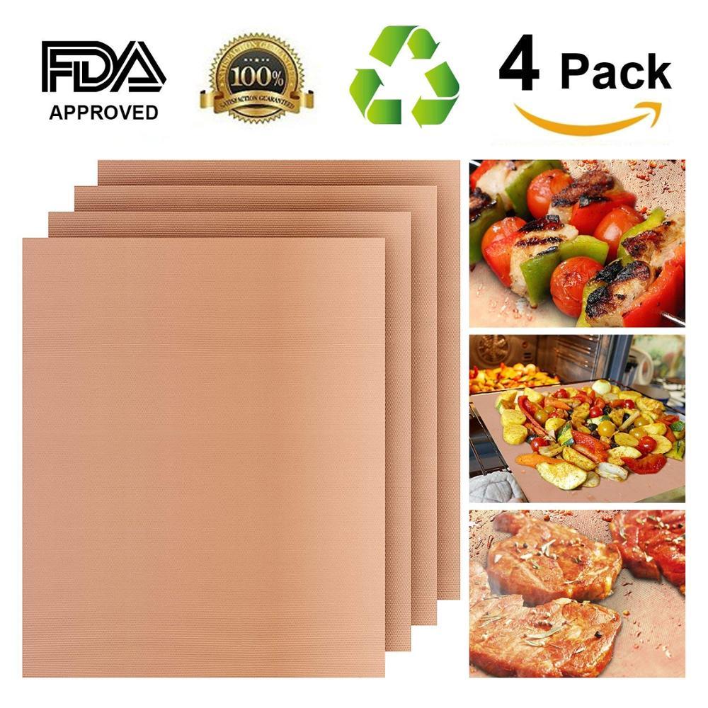 4 Unid cobre de esteras de teflón de fibra funcional reutilizable parrilla PTFE asado hojas para Gas