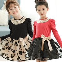New Products 2015 Hot Dress Fluffy Flower Girl Dresses Party Dresses for Girls of 7 Year Old