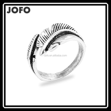 2015 Feather Shape Black Silver Plated Vintage Biker Rings For Women And Men