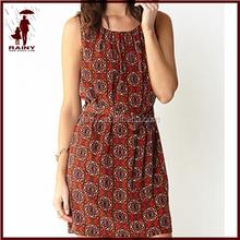 Roman Style hot-selling printed chiffon lady dress