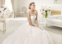 2014 New Model One Shoulder A-Line Lace Organza Ruffle Wedding Dress Designs