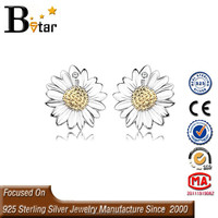silver jewelry 925 pressed flower earrings, earring