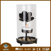 Led metal flower glass tall candle holders