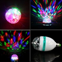 2015 Auto Full Color 3W 6W RGB E27 LED Rotating lamp AC 85 - 265V Laser Disco DJ Party Holiday Dance bulb