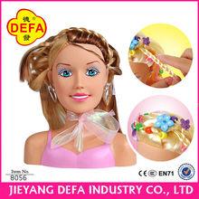 muñeca de plástico cabezas de peinado del cabello 2014 bebé recién nacido cabezas de muñecas de peinado del cabello conjunto