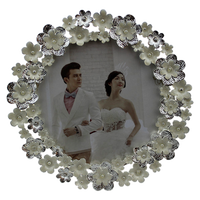 "4""X4"" Flower Surrounded Metal Custom Picture Frames, White Photo Frames Online"