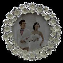 "4""X4"" Flower Surrounded Metal Custom Picture Frames, White Photo Frames Online"