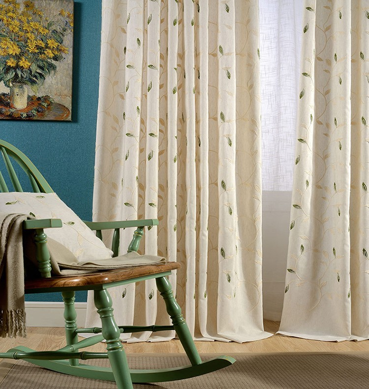 Eyelet embroidered linen mixed window curtain for iding room ikea