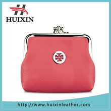Factory metal buckle leather travel purse , colored fashion money purse
