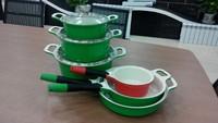 die cast aluminum enamelware wholesale/green ceramic soup pots/ceramic cookware sets