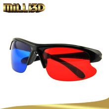2015 rosso e blu occhiali 3d obiettivo di plastica