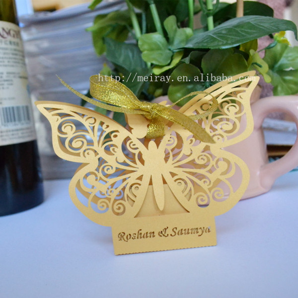 Laser Cut Paper Mint Green Butterfly Box Decorations For Weddings ...