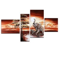 Eye-catching African Elephant Painting, African Landscape Painting
